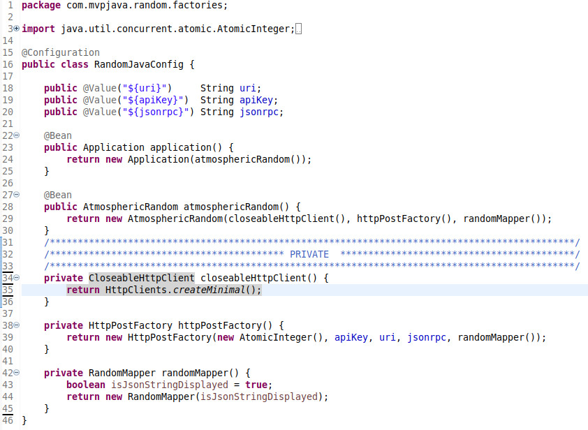 Atmospheric Random Spring Configuration Class - MVP Java